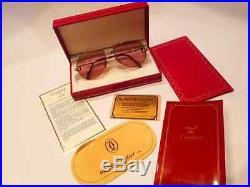 Vintage Cartier Vendome Santos 59mm Sunglasses France 18k Full Set
