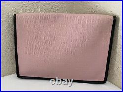 Vintage Celine Pink Fabric Canvas Black Leather Trim Gold Tone Logo Clutch Purse