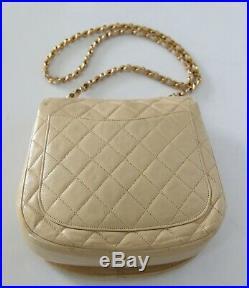 Vintage Chanel Beige Quilted Lambskin Flap Shoulder Bag Gold HW
