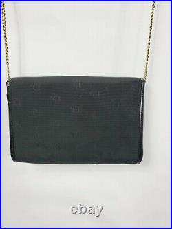 Vintage Christian Dior Black Clutch Logo Bag With Gold Metal Chain Retail $890