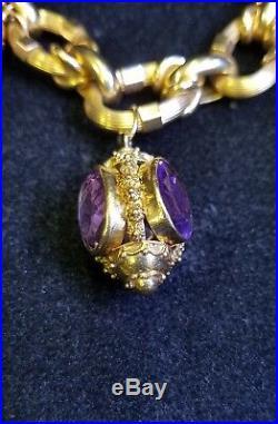 Vintage Etruscan 18 Karat Yellow Gold Multi Gems Charm Bracelet Jewelry 120.2 Gr
