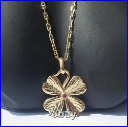 Vintage French' Lucky Clover' Charm / Love Pendant, Gold 18k, 2.40 Gr