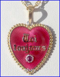 Vintage French' Toi & Moi Toujours' Charm / Love Pendant, Gold 18k, 3.40 Gr