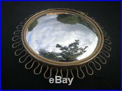 Vintage Mid Century French Gold Sunburst Starburst Convex Mirror Josef Frank Era