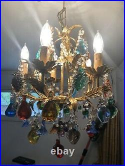 Vintage Murano Crystal Fruit, Flowers, Grapes Drops Gold Gilt Crystal Chandelier