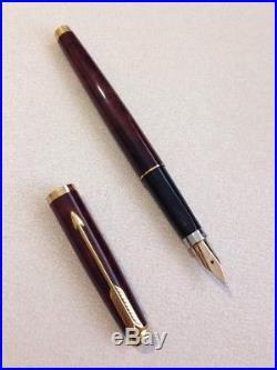 Vintage Parker 75 Laque Thuya Gold Trim Medium 14k Gold Nib Fountain Pen-france