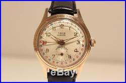 Vintage Rare Nice Collectible Pointer Date Gold Plated France Men's Watch Trib
