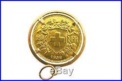Vintage Swiss 22k Yellow Gold Helvetia 20 Franc Coin Pendant 18k Gold Bezel