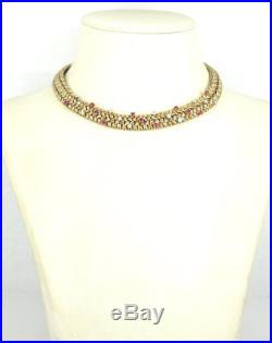 Vintage Tiffany & Co. France Diamond & Ruby 18K White & Yellow Gold Necklace