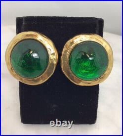 Vintage YVES SAINT LAURENT Gold Tone Green Lucite Clip On Earrings Rare France
