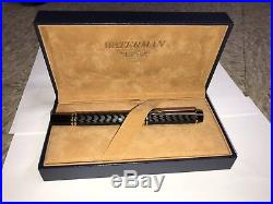 WATERMAN Le MAN FOUNTAIN PEN 100 OPERA BLACK & 18KT GOLD IDEAL FRANCE with Box 750