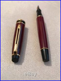 Waterman Expert Mki Maroon Gold Trim Medium Nib Fountain Pen-france