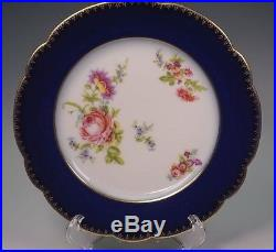 Wm. Guerin & Co Limoges France 8 Cobalt Blue Roses Dessert or Salad Plates