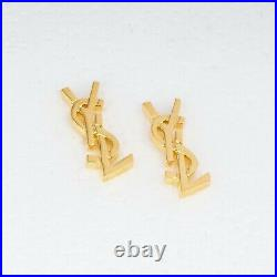 YSL Earrings Womens stud Yves Saint Laurent Yellow gold plated Fashion jewelry