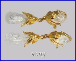 Yves Saint Laurent Earrings Rive Gauche Dangle 3 Long Vintage Glass Earrings